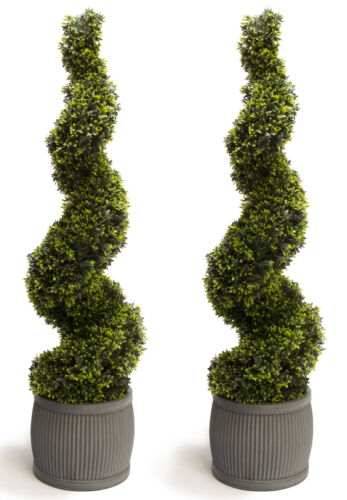 Pairs Artificial Topiary Grass Swirls Large Buxus Grass Outdoor by Primrose®