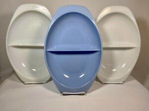 Lot of 3 Vintage Pyrex Divided Dishes #1063 - Delphite Blue & Opal White