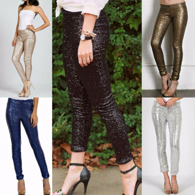 SEQUIN LEGGINGS Boutique Brand COZY FULLY LINED! BLACK GOLD BRONZE SKINNY PANTS