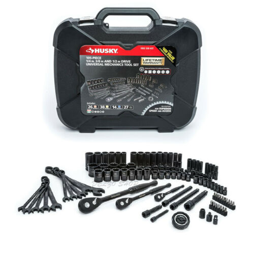1//4 in 3//8 in 1//2 in Drive NEW Mechanics Tool Set SAE Metric Husky 105-Pieces