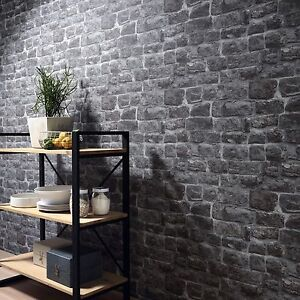 Image Is Loading Grey Stone Brick Wall Wallpaper Paste The