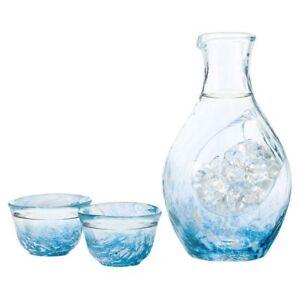 Japanese-Cold-Sake-Bottle-Ice-Pocket-300ml-Carafe-2-Cup-Set-Blue-Tokkuri-Ochyoko