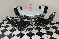 American 50s Diner Retro Furniture With 4 Studded Black Chairs