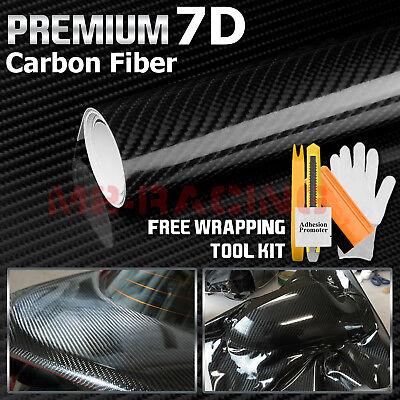 Premium 7D Black High Gloss Carbon Fiber Vinyl Wrap Bubble Free Air Release