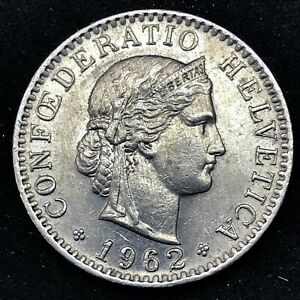 Switzerland- 1962 B- 20 Rappen - Copper/Nickel Coin - KM# 29a