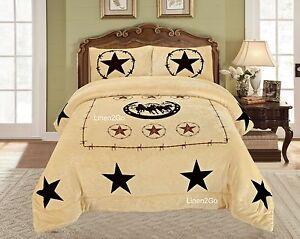 3 Piece Rodeo Cowhide Print Western Design Borrego Fleece Comforter Style Set