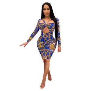 NEW Women/'s Stylish Sleeveless Lovely Printed Bodycon Mini Dress Clubwear Party