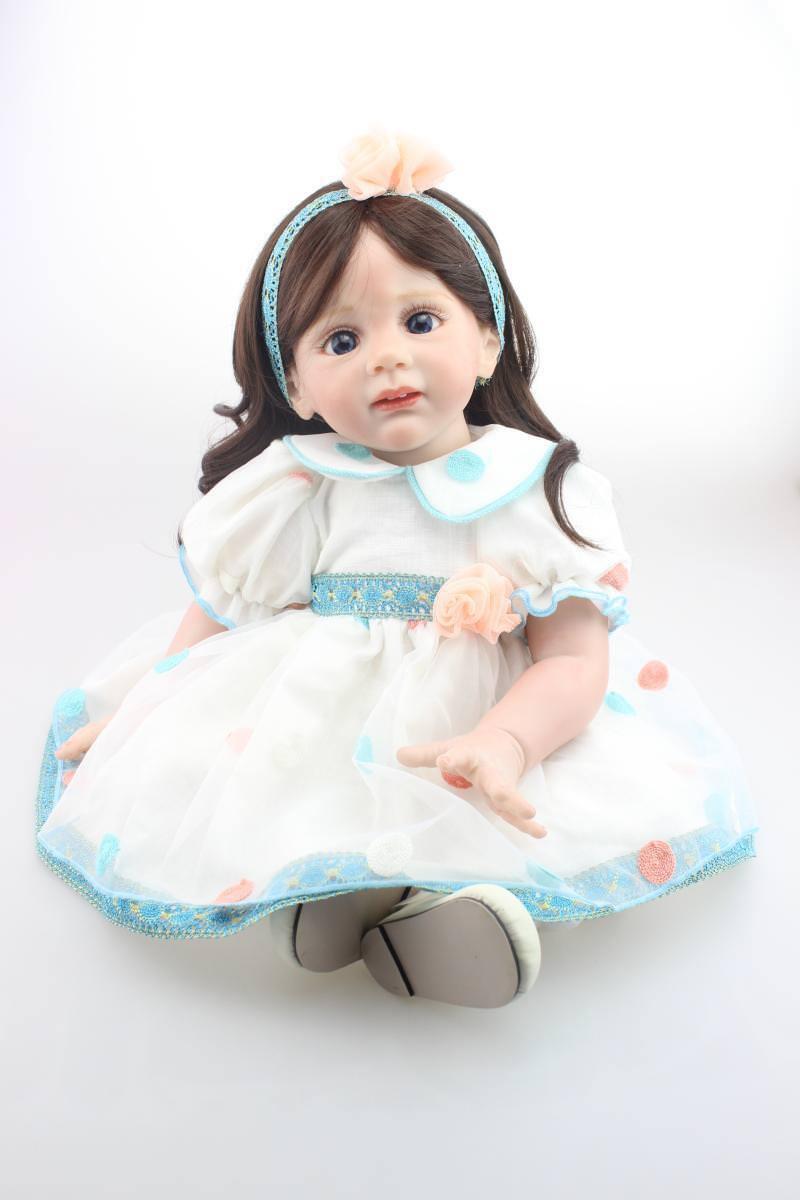 60cm per bambini per bambole reborn Bambina corpo morbido vinile Principessa NEONATO BAMBINA regali
