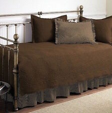5 piece Brown Daybed Quilt Set 100% Cotton Day Bed Bedding Quilt Comforter Skirt