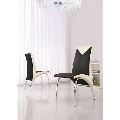 SET OF 2 DESIGNER LEATHER CHROME DINING ROOM CHAIRS-FURNITURE-(5 COLOURS)-IJ614