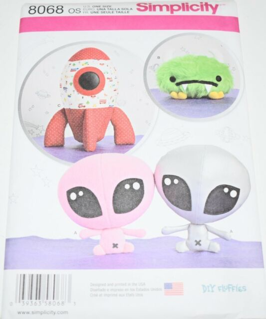 Sewing Pattern Stuffed Space Ship Alien Dolls Monster Toy simplicity ...