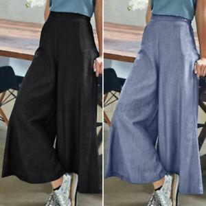 ZANZEA-Femme-Pantalon-Long-Jean-Taille-elastique-Ample-Loose-Jambe-Large-Plus