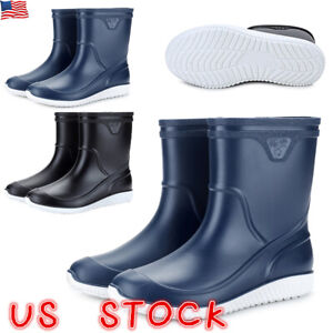 Men-039-s-Rubber-Waterproof-Rain-Boots-Slip-Resistant-Safety-Low-heeled-Work-Shoes