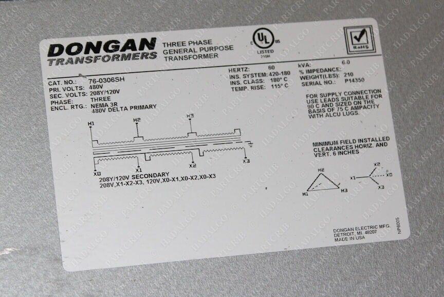 dongan electric 760306sh 3 phase general purpose transformer