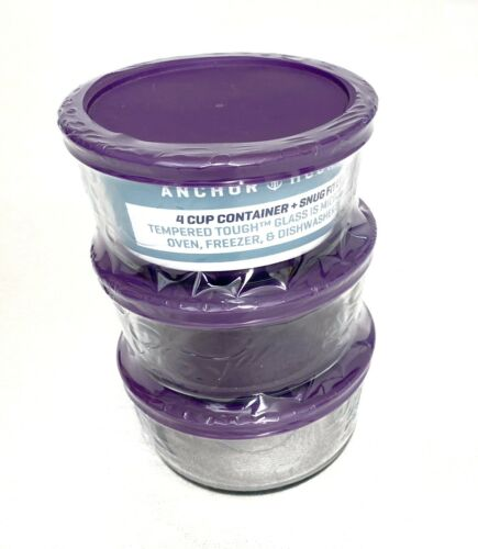 Anchor Hocking Glass Food Storage Containers with Purple Lids Set Of 3 4 Cup