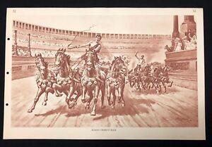 Vintage-1930s-Poster-School-Chart-Print-ROMAN-CHARIOT-RACE-No-32