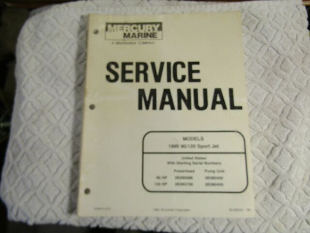 Mercury Mariner Outboards Service Manual Models 1995 90 120 Sport Jet 90
