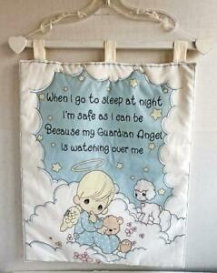 Precious-Moments-Wall-Hanging-Guardian-Angel-at-Night-19-034-x16-034-Cloth-Picture-New
