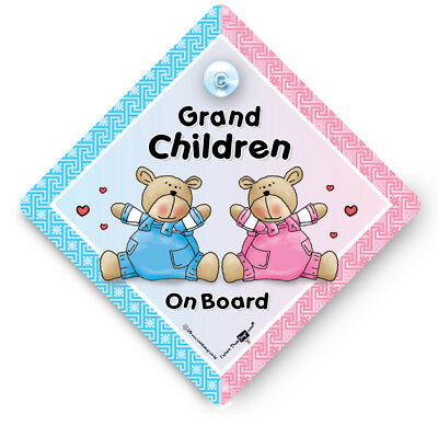 Grandchildren On Board Car Sign Suction Cup Car Sign Baby On Board Car Sign