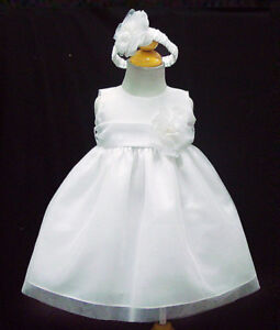 Dressy-Baby-Girl-Sleeveless-Christening-Dress-Hairband-Flower-Set-USA-Polyester