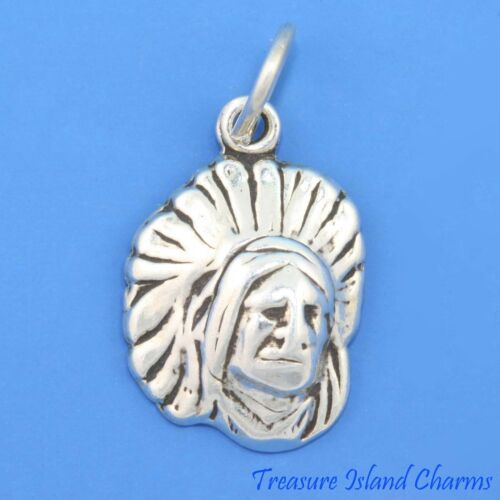 Native American Indian Chief Head w coiffure .925 Sterling Silver Charm Pendentif