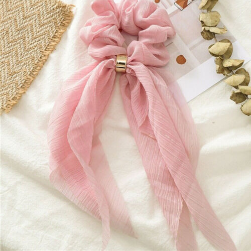 Women Chiffon Elastic Scarf Scrunchie Long Bowknot Hair Bands Rope Ring Ponytail