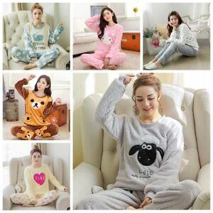 b8436d8c9d Women Warm Flannel Pajamas Set Cute Soft Autumn Winter Sleep Cloth ...