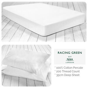 Racing-Green-100-Cotton-Fitted-Bed-Sheets-amp-Pillowcases-Plain-White