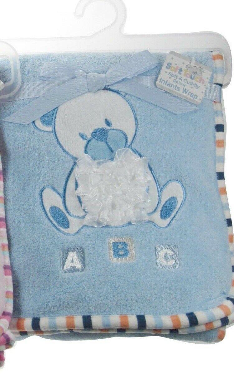 Tacto suave Lindo Bebé Personalizada Wrap Manta Azul Rosa Motivo con volantes