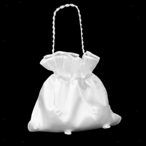 Bridal Wedding Party Satin Dolly Bag Handbag Beaded Chain Accessory White