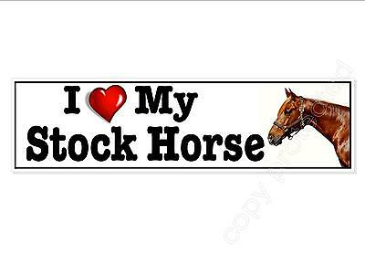 Fun car bumper sticker. I Love ( Heart ) My Stock Horse. 220 mm equine decal