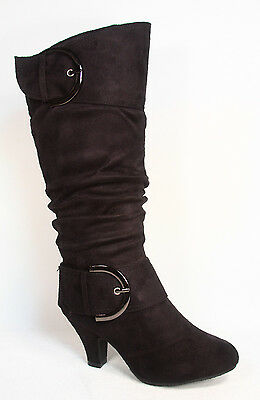 Women's Cute & Stylish Low Heel Round Toe Mid Knee Calf  Dress Boots Shoes NEW