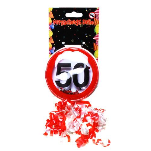 Verpackungsdeko 50 Geburtstag mit Klebepunkt 9 cm Ø für Geschenk Deko Party