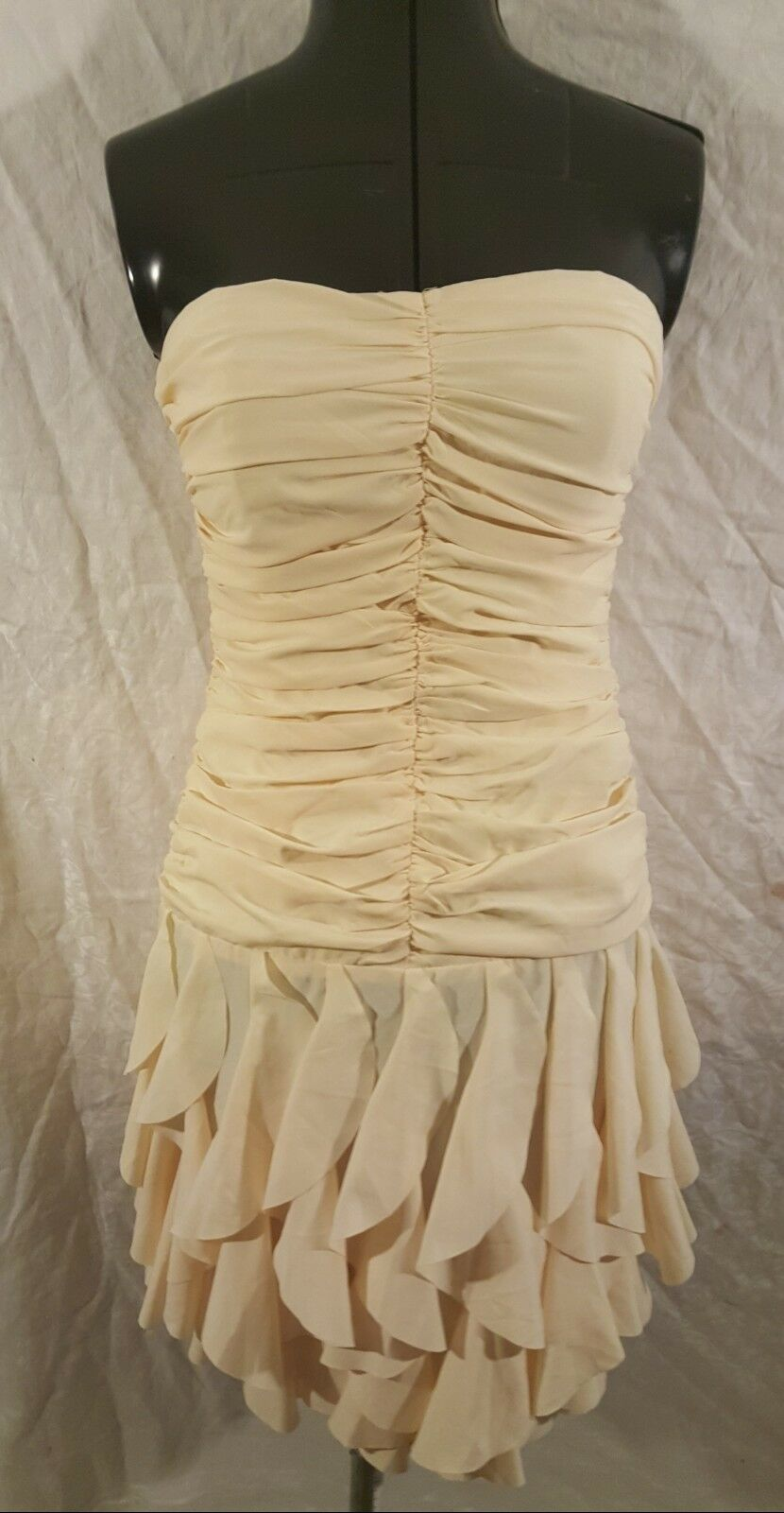 Ark Co Sexy Gorgeous Pale Gelb Strapless Prom Party Short Dress Ruffles Small