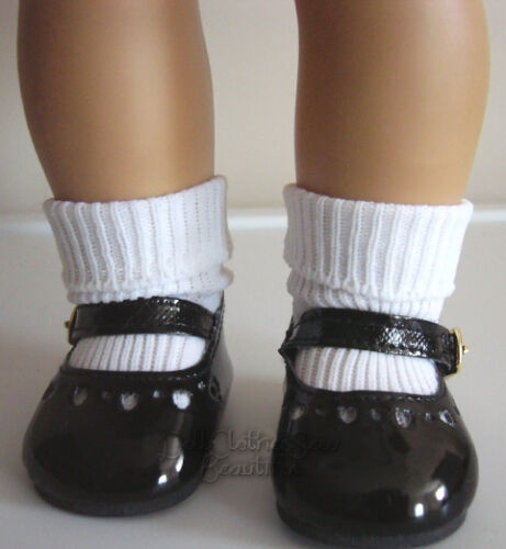 Black Patent Mary Jane Shoes /& Ankle Socks works for American Girl Molly Doll