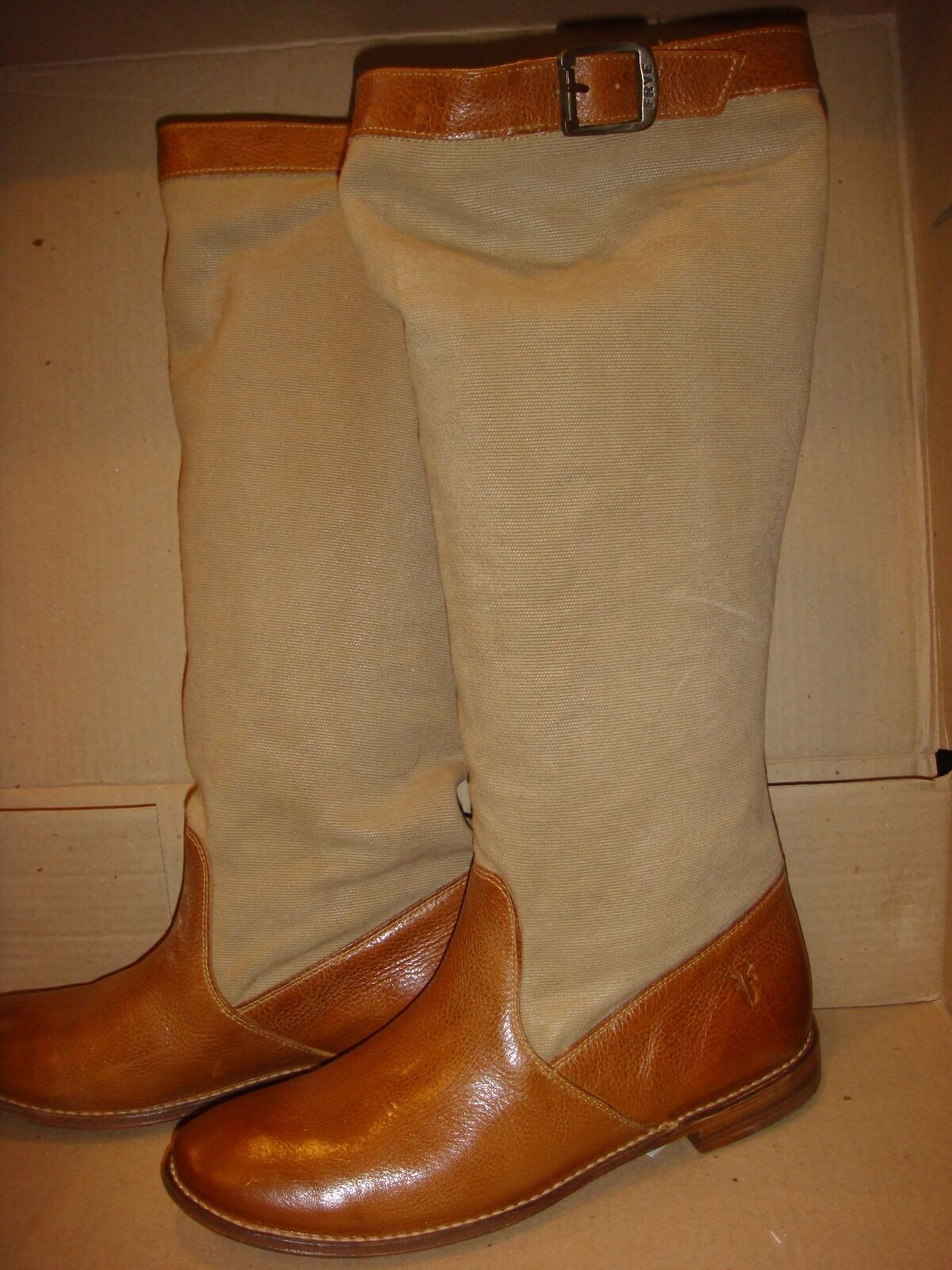 $480 Victoria's Secret schuhe Boot FRYE  Leder BROWN Canvas size 9 Knee High NEW*