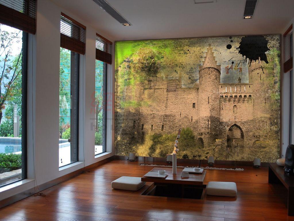 3D Unscharfe greye Burg 190 Fototapeten Wandbild Fototapete BildTapete Familie