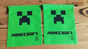 Minecraft-Creeper-Set-of-2-Drawstring-Bag-Party-Favours-Bag-Supplies-Brand-NEW