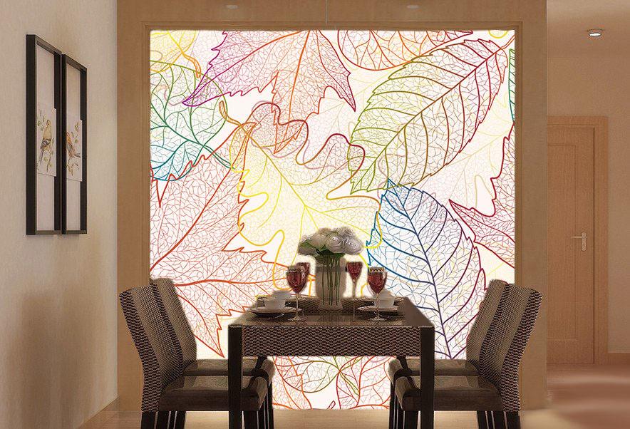 3D 3D 3D Farbeed Leaves 628 Wallpaper Mural Paper Wall Print Wallpaper Murals UK Lemon 4f744d