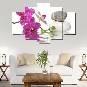 Dettagli su 5x tela di canapa Soggiorno moderno Decorazione della parete  orchidea Stampa