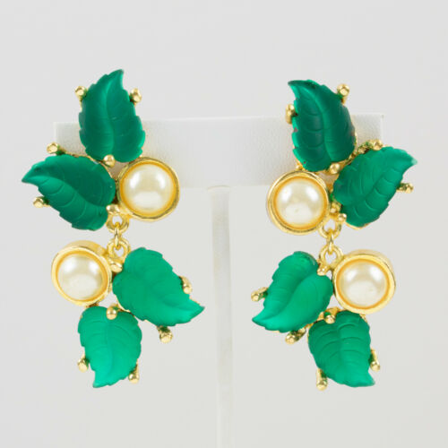 Vintage Madame Gres Paris Clip Earrings Green Pour