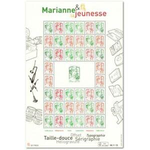 """FEUILLE F4774A """"MARIANNE ET LA JEUNESSE"""" (2013) FEUILLE MULTITECHNIQUE"""