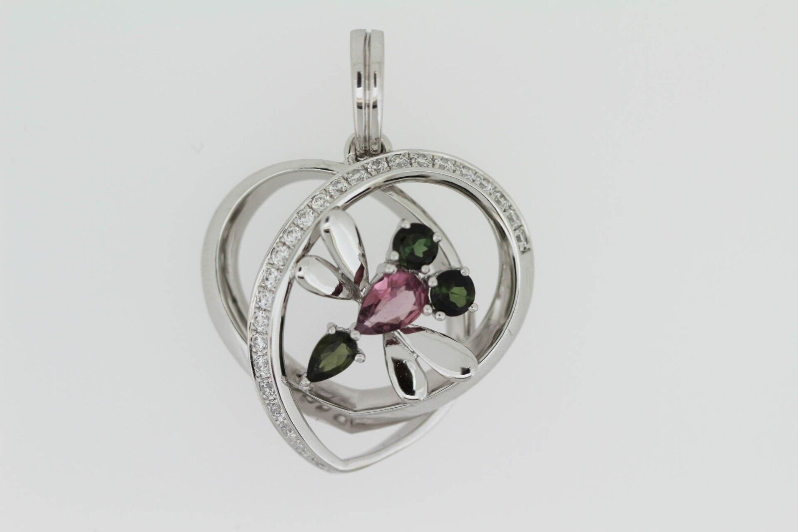 925 Green   Pink Tourmaline w   White Topaz Butterfly Pendant( 1.11 cts)