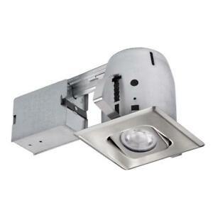 Details About Globe Electric 4 In Brushed Steel Recessed Square Directional Lighting Kit