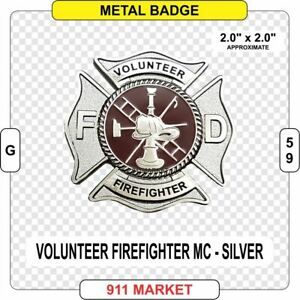 Volunteer-Firefighter-Maltese-Cross-Badge-SILVER-Fire-Fireman-Department-G-59