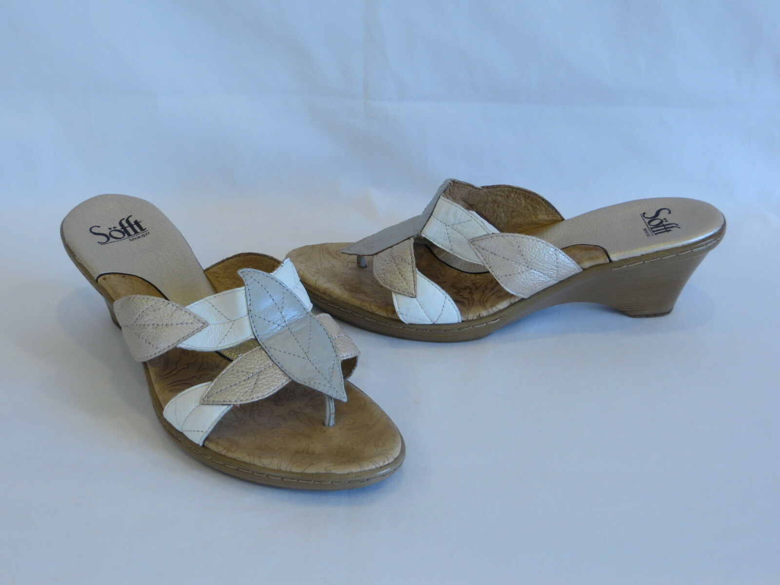 Sofft Silver/White/Champagne Leather Wedge Heels/Thongs/Slides - 9.5M – GR8!