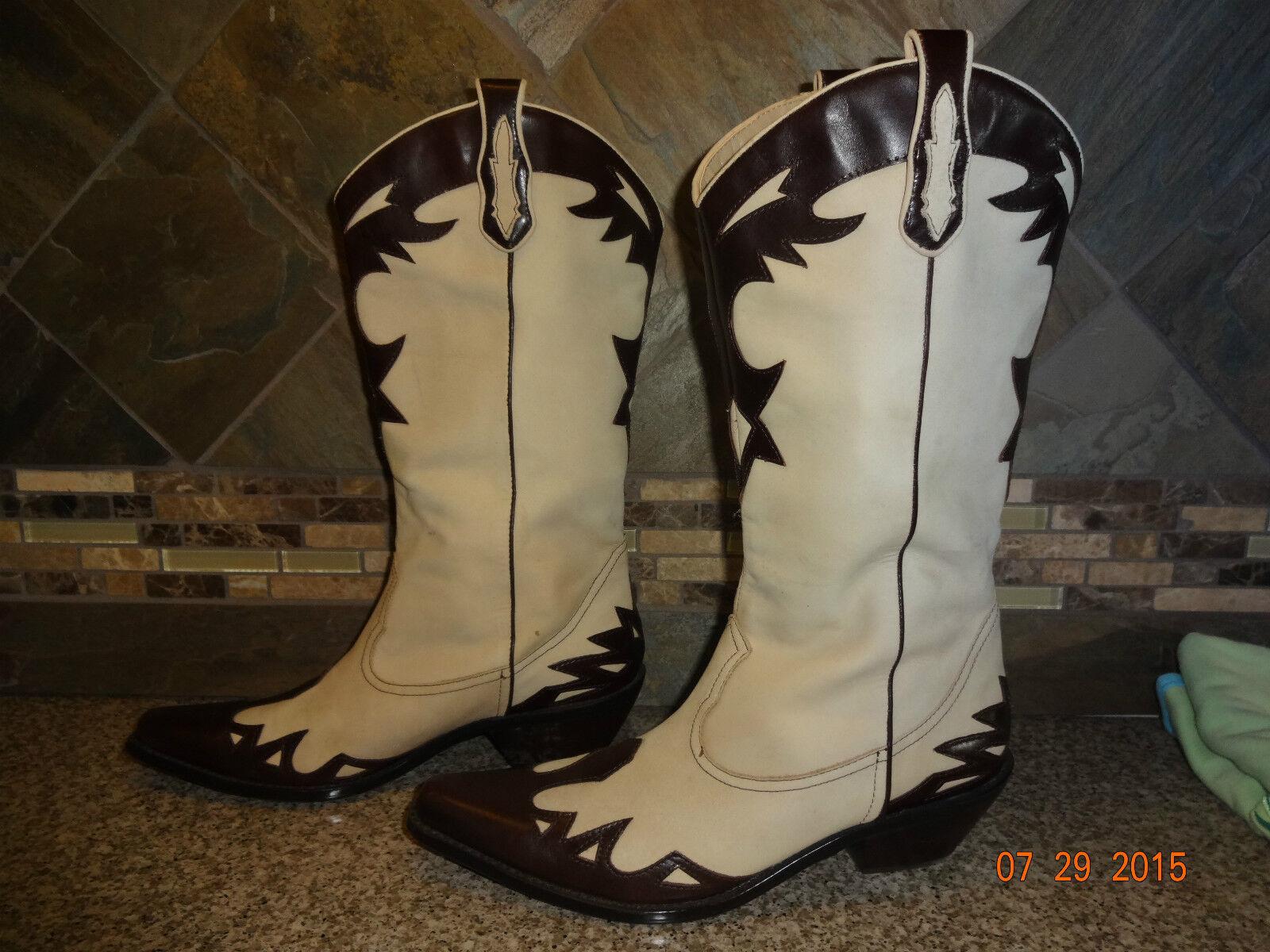 Damenschuhe Coldwater Creek Sz 7.5M Leder Upper Flame Fashion Cowboy Stiefel GREAT