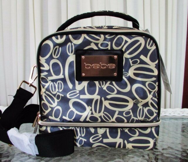 Bebe Top Handle Insulated Lunch Tote Bag Crossbody Strap Gold Black
