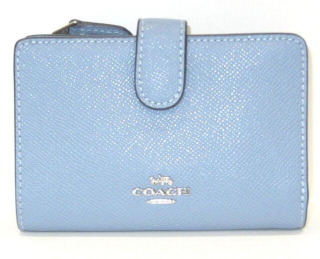 6a4a857809 Coach F11484 Crossgrain Leather Medium Corner Zip Snap Wallet Pool Blue