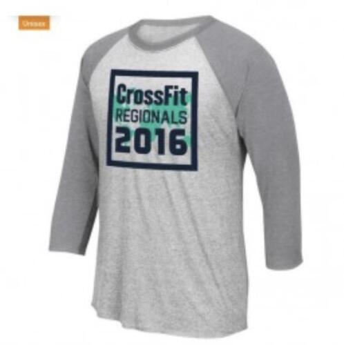 Men/'s Reebok CrossFit 2016 3//4 Raglan Sleeve T-Shirt Tee BU0023 Grey